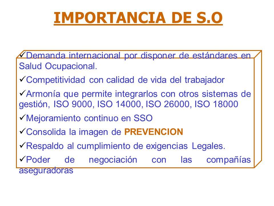 IMPORTANCIA DE S.O Demanda internacional por disponer de estándares en Salud Ocupacional.