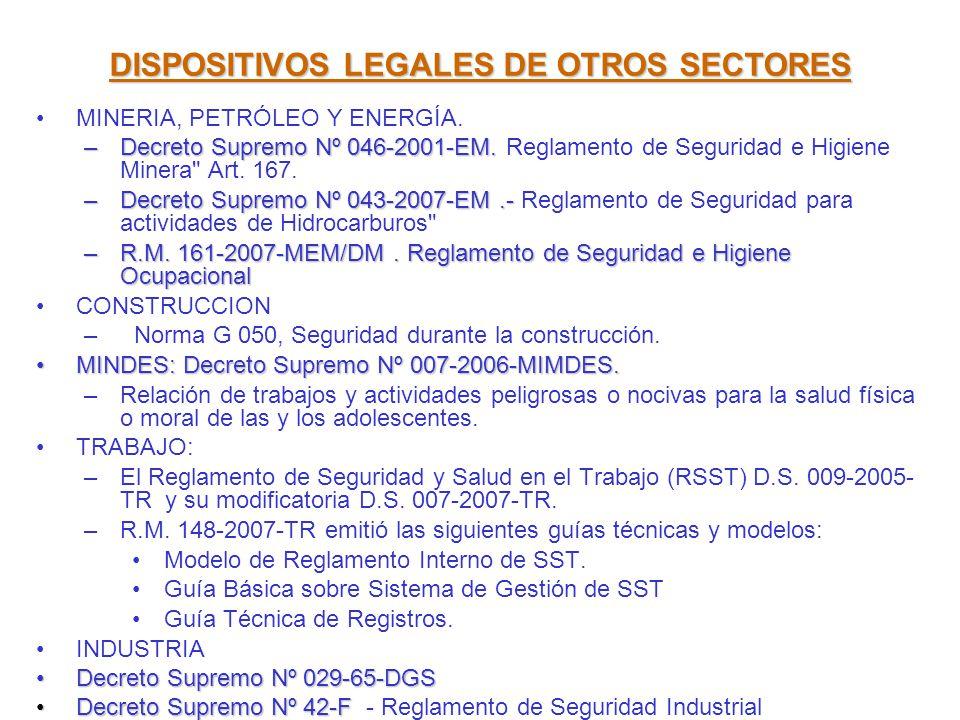 DISPOSITIVOS LEGALES DE OTROS SECTORES