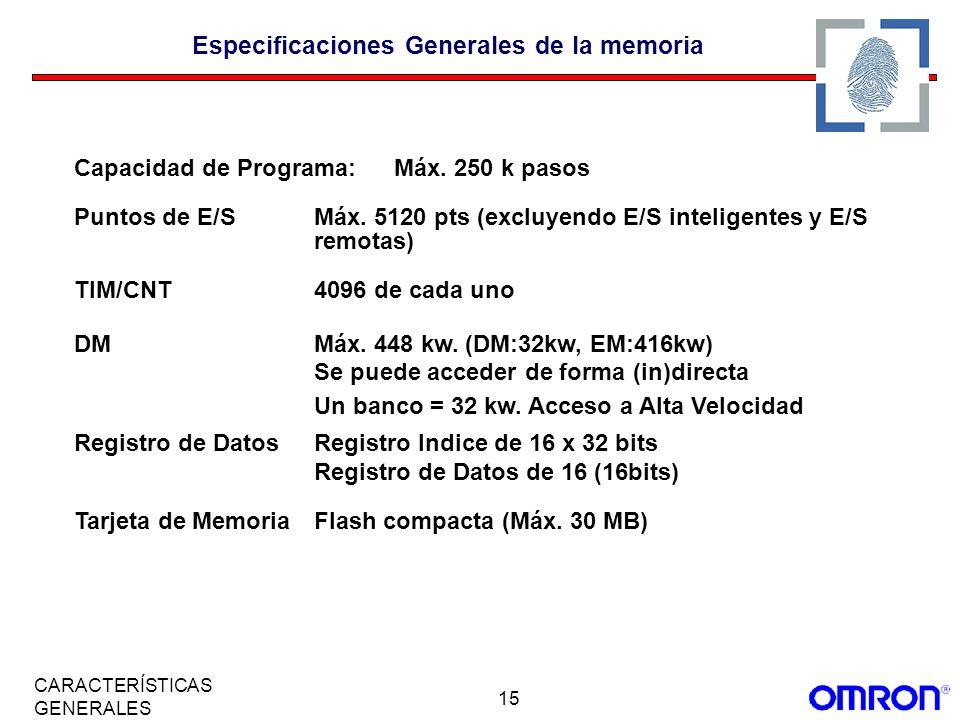Especificaciones Generales de la memoria