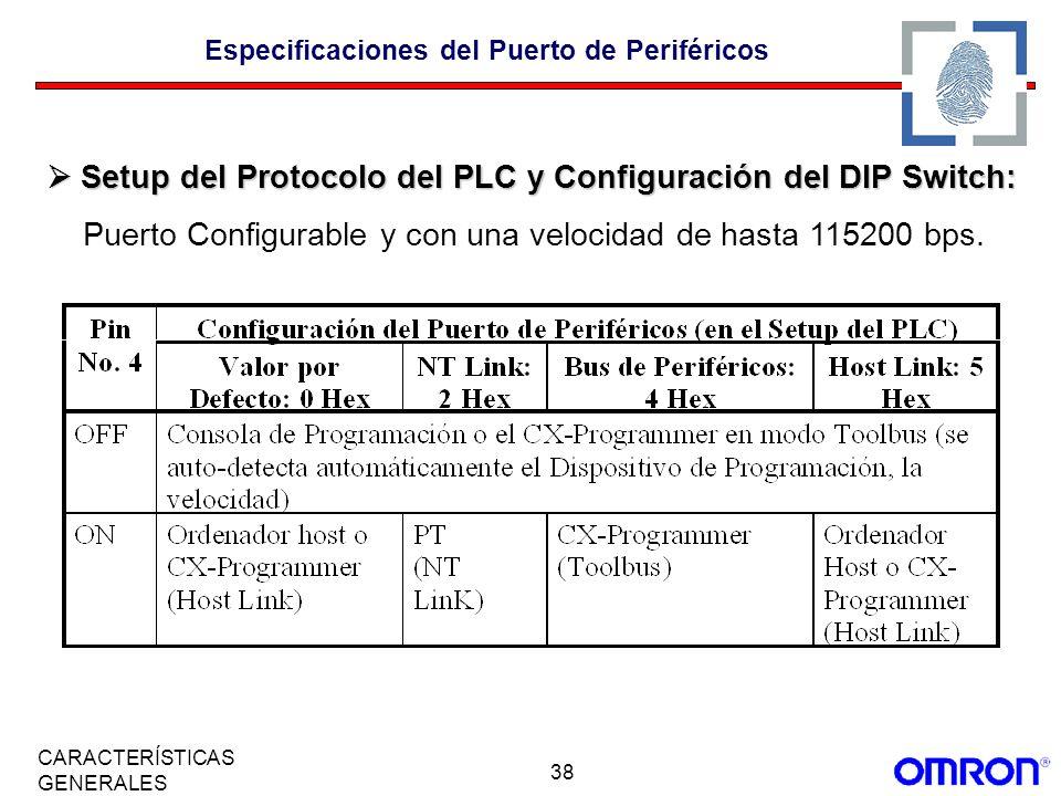 Especificaciones del Puerto de Periféricos