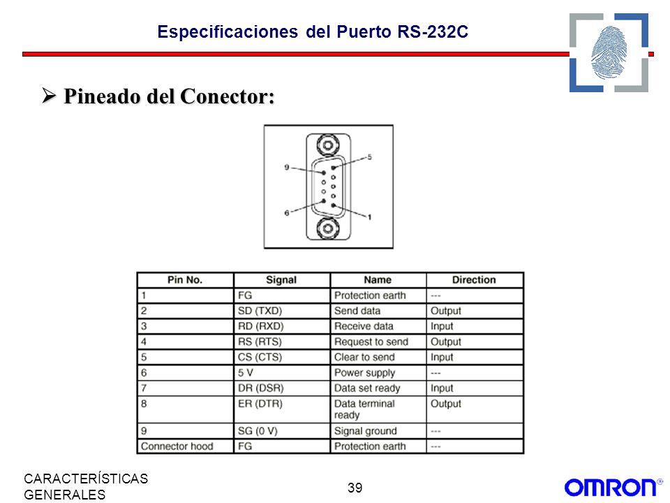 Especificaciones del Puerto RS-232C