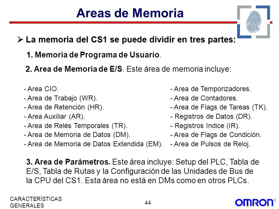 Areas de Memoria  La memoria del CS1 se puede dividir en tres partes: