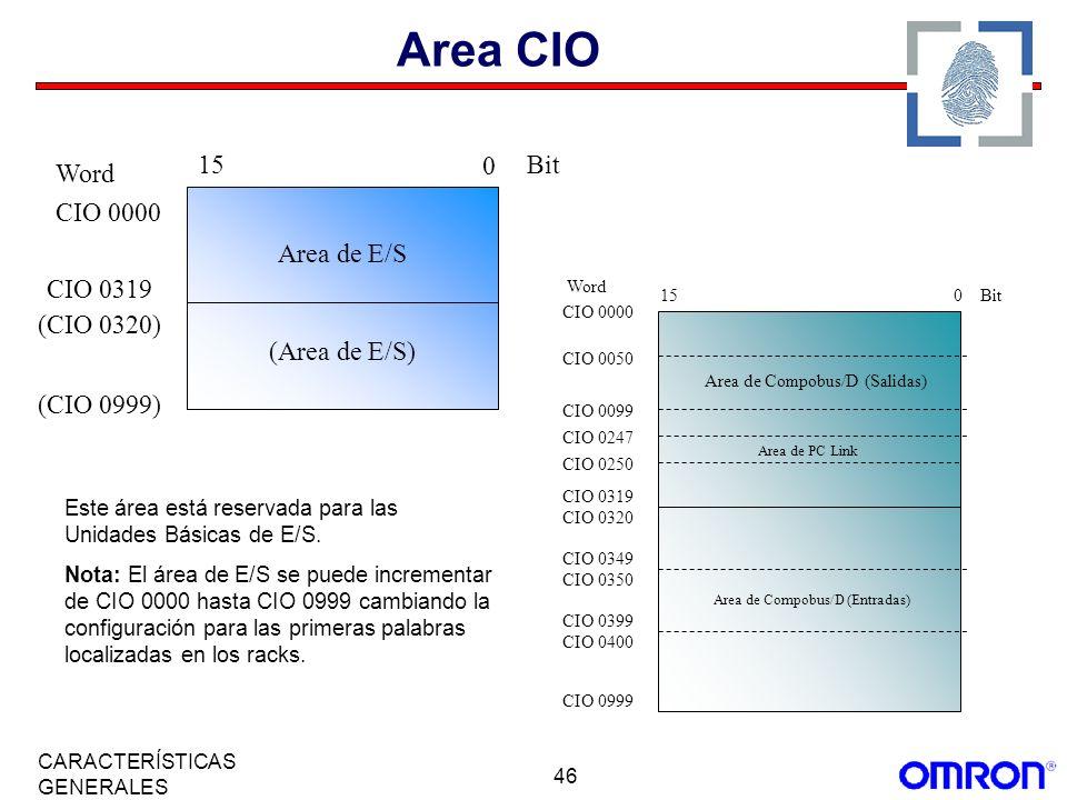 Area CIO Word CIO 0000 15 Bit (CIO 0999) Area de E/S (Area de E/S)