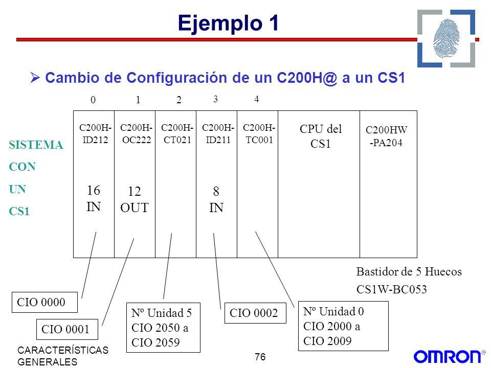Ejemplo 1  Cambio de Configuración de un C200H@ a un CS1 16 IN 12 OUT