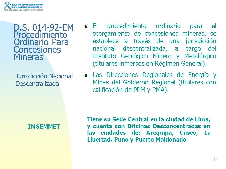 D.S. 014-92-EM Procedimiento Ordinario Para Concesiones Mineras