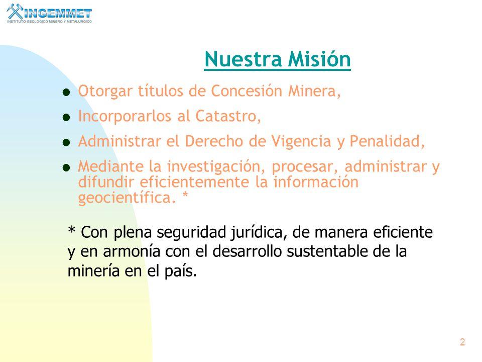 Nuestra Misión Otorgar títulos de Concesión Minera,