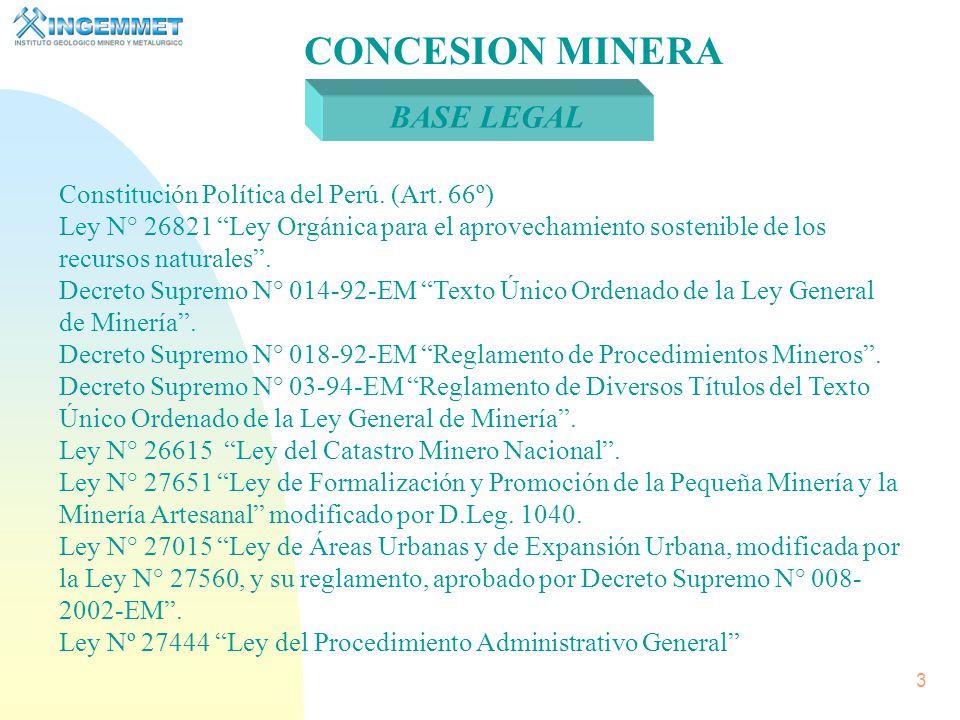 CONCESION MINERA BASE LEGAL Constitución Política del Perú. (Art. 66º)