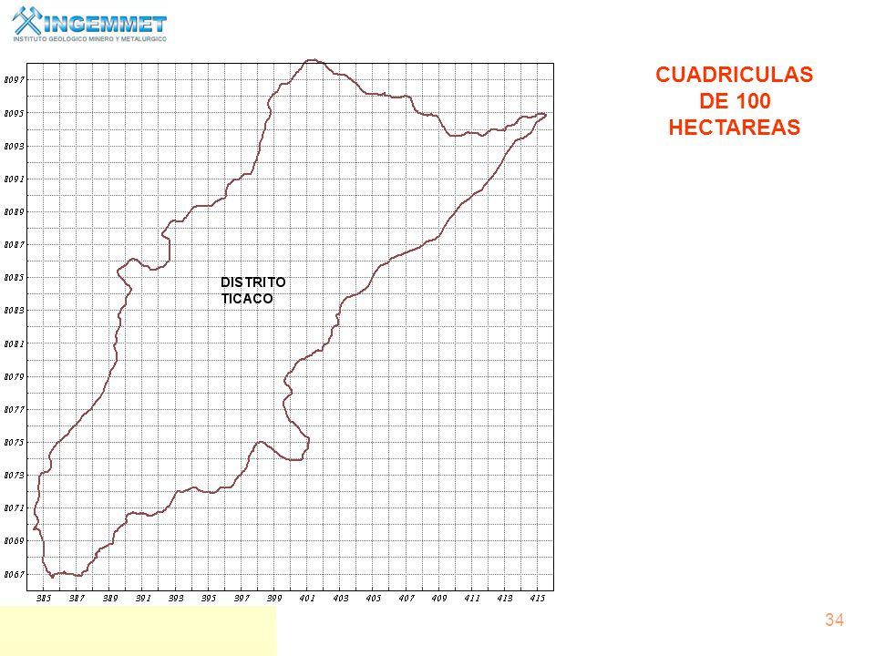 CUADRICULAS DE 100 HECTAREAS