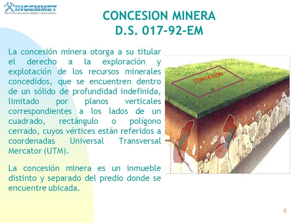 CONCESION MINERA D.S. 017-92-EM