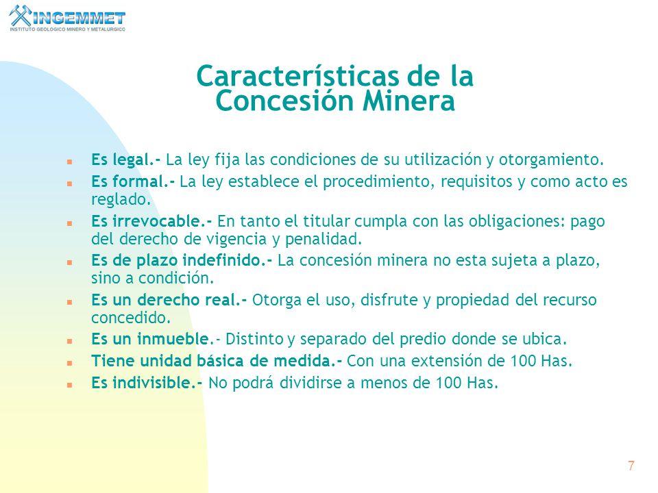 Características de la Concesión Minera