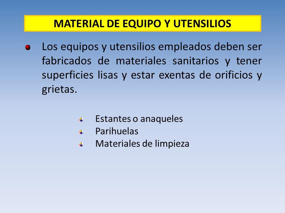 MATERIAL DE EQUIPO Y UTENSILIOS