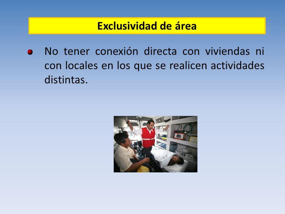 Exclusividad de área No tener conexión directa con viviendas ni con locales en los que se realicen actividades distintas.