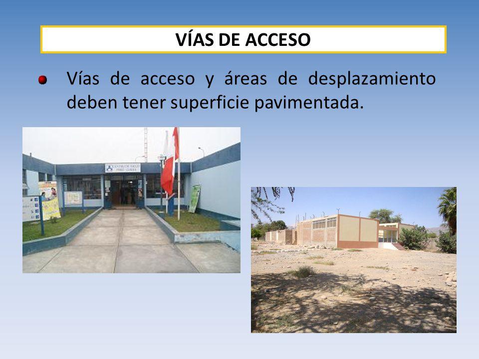 VÍAS DE ACCESO Vías de acceso y áreas de desplazamiento deben tener superficie pavimentada.