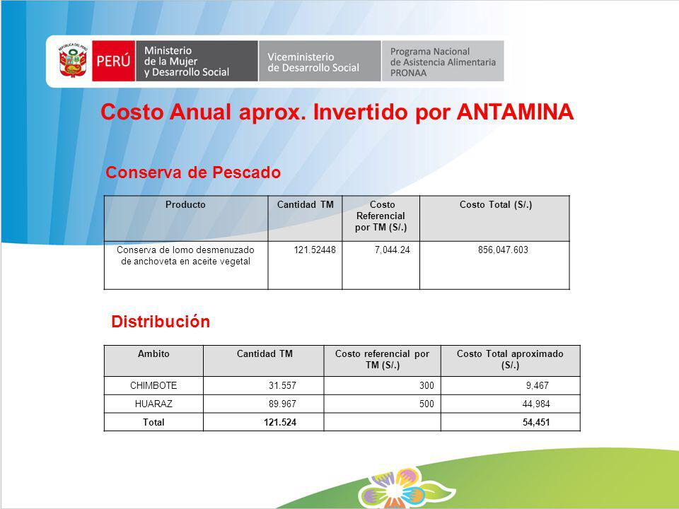 Costo Anual aprox. Invertido por ANTAMINA