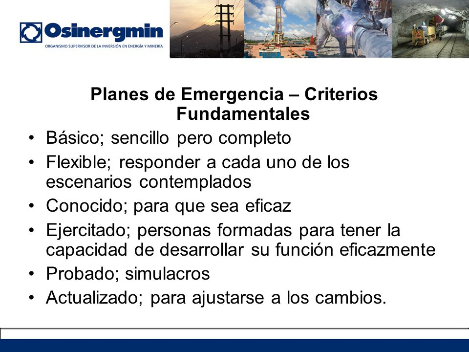 Planes de Emergencia – Criterios Fundamentales