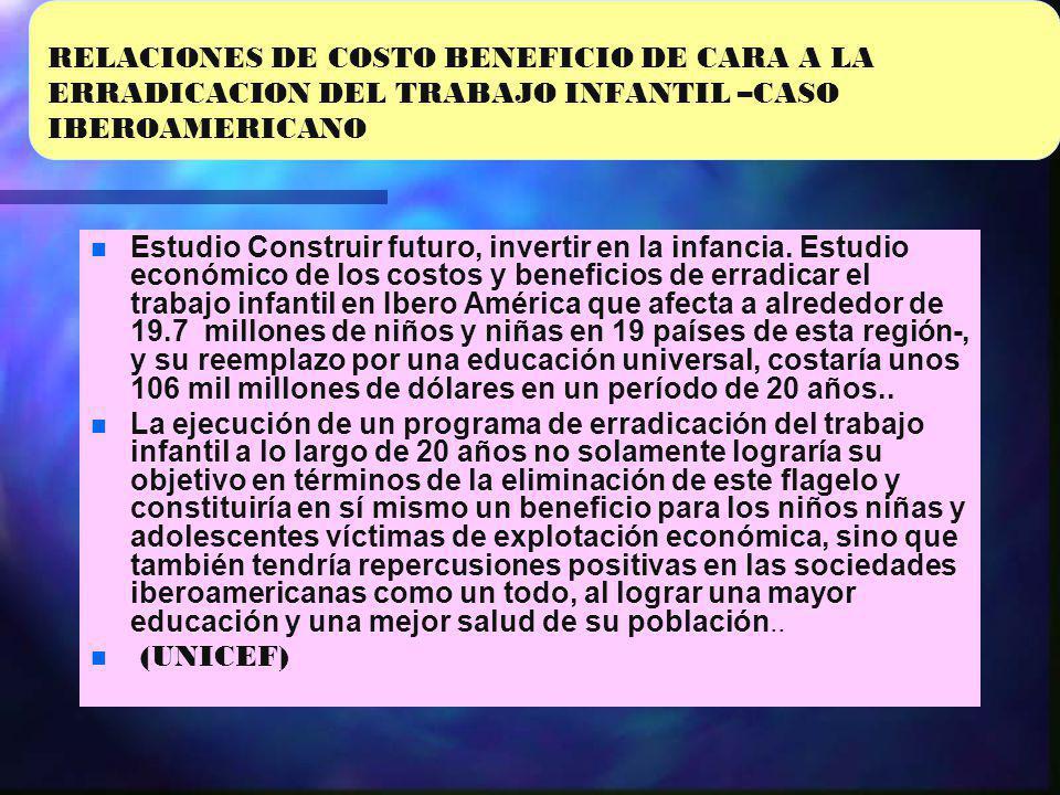 RELACIONES DE COSTO BENEFICIO DE CARA A LA ERRADICACION DEL TRABAJO INFANTIL –CASO IBEROAMERICANO