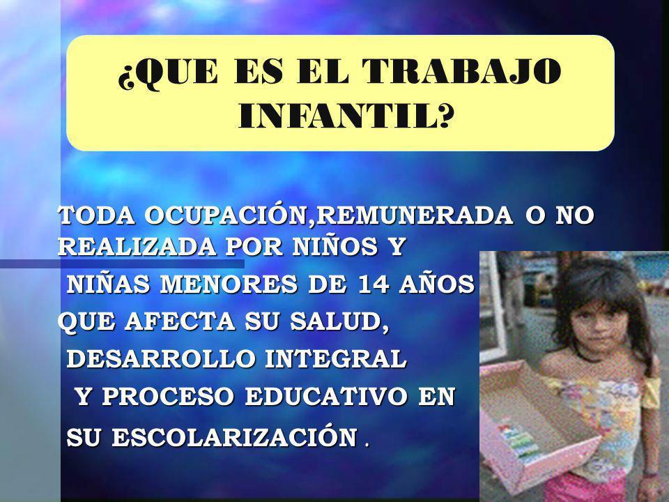 ¿QUE ES EL TRABAJO INFANTIL