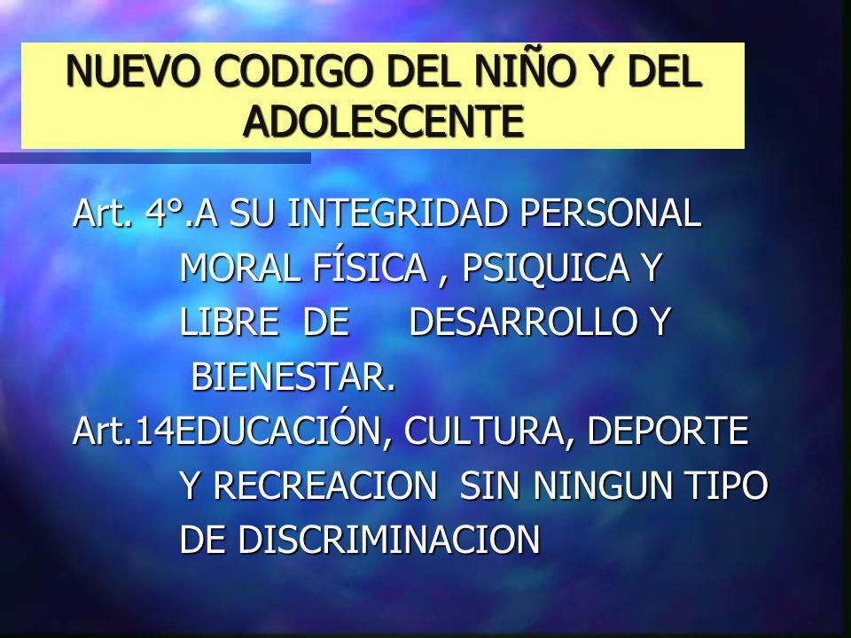 NUEVO CODIGO DEL NIÑO Y DEL ADOLESCENTE