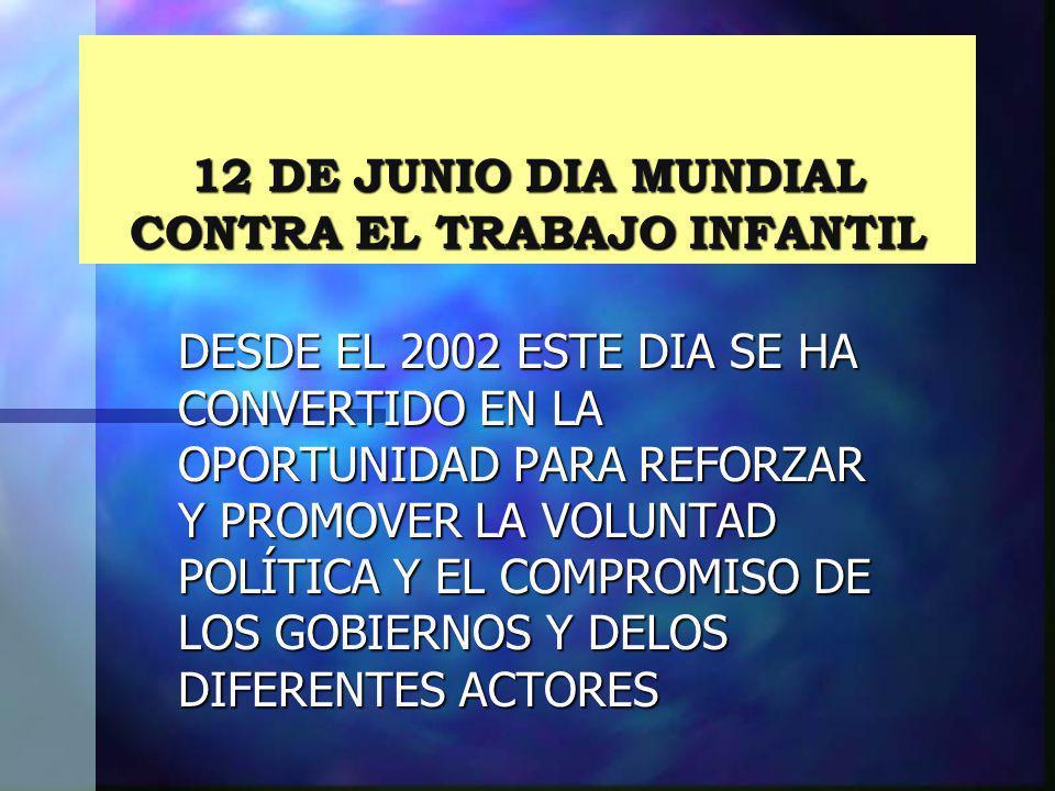 12 DE JUNIO DIA MUNDIAL CONTRA EL TRABAJO INFANTIL