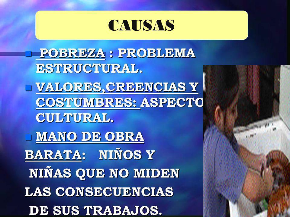 CAUSAS POBREZA : PROBLEMA ESTRUCTURAL.