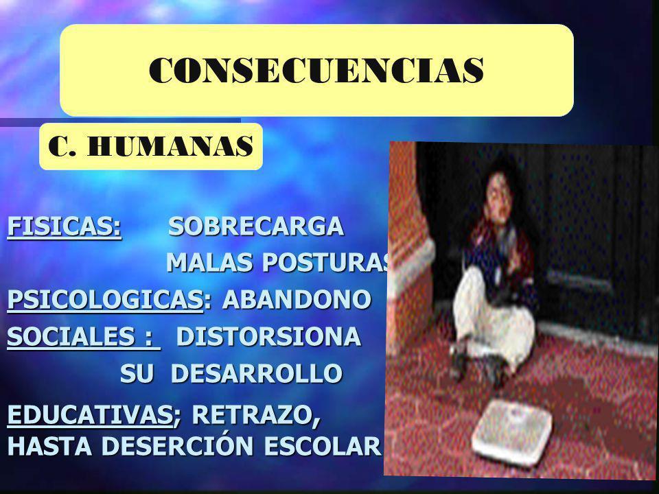 CONSECUENCIAS C. HUMANAS FISICAS: SOBRECARGA MALAS POSTURAS.