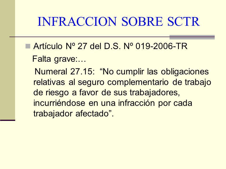 INFRACCION SOBRE SCTR Artículo Nº 27 del D.S. Nº 019-2006-TR