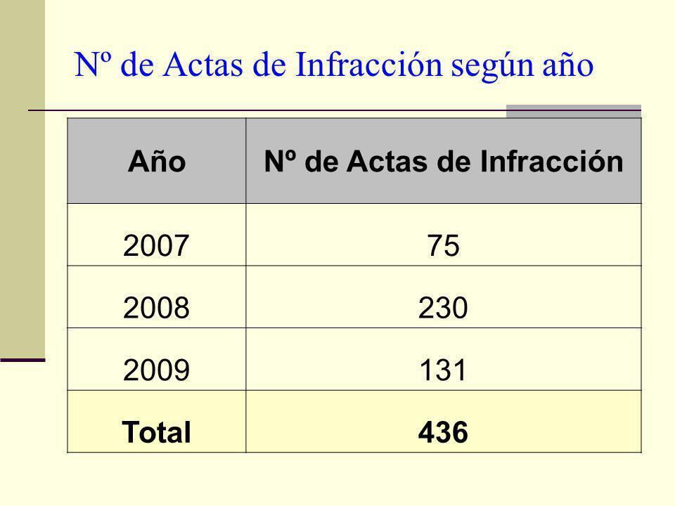 Nº de Actas de Infracción según año