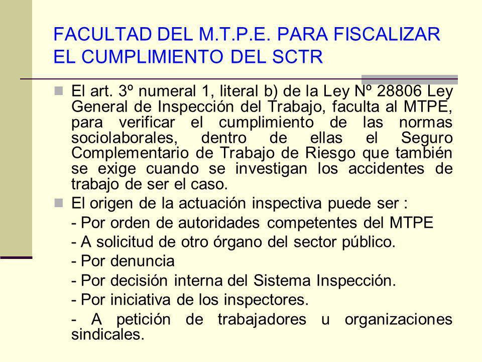 FACULTAD DEL M.T.P.E. PARA FISCALIZAR EL CUMPLIMIENTO DEL SCTR