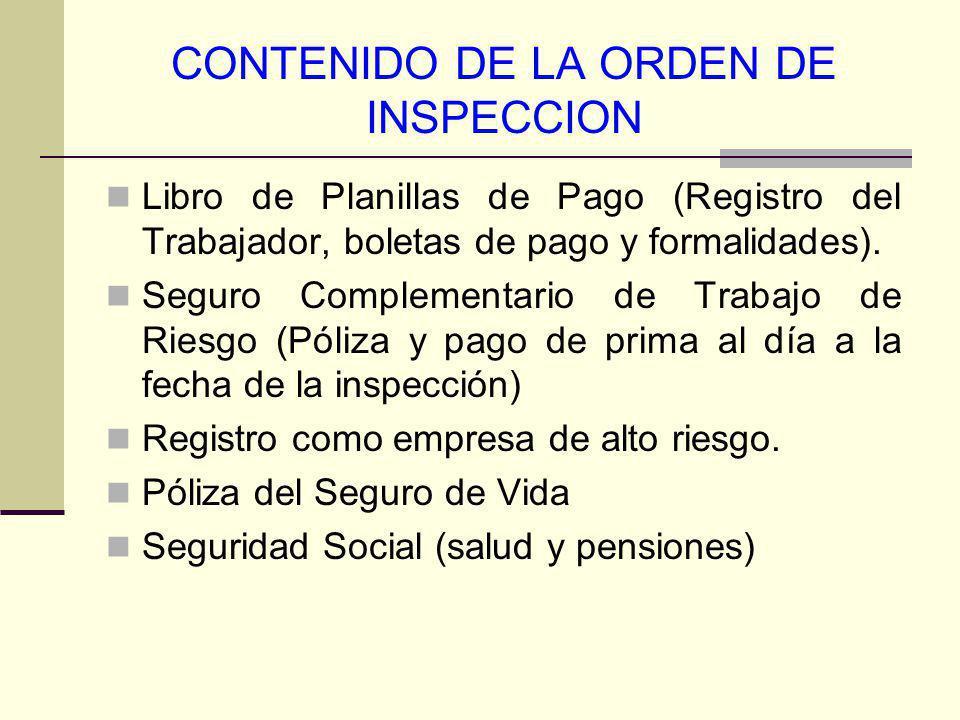 CONTENIDO DE LA ORDEN DE INSPECCION
