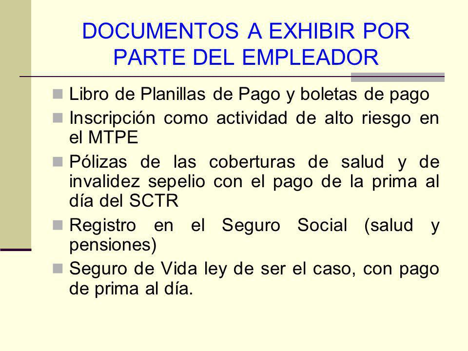 DOCUMENTOS A EXHIBIR POR PARTE DEL EMPLEADOR