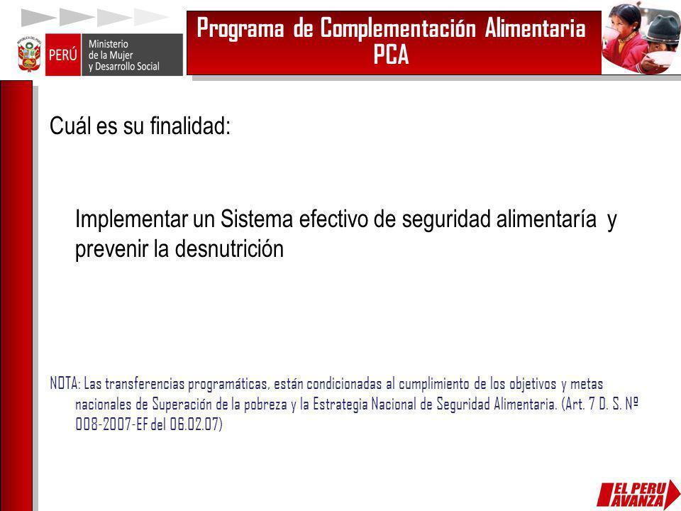 Programa de Complementación Alimentaria PCA