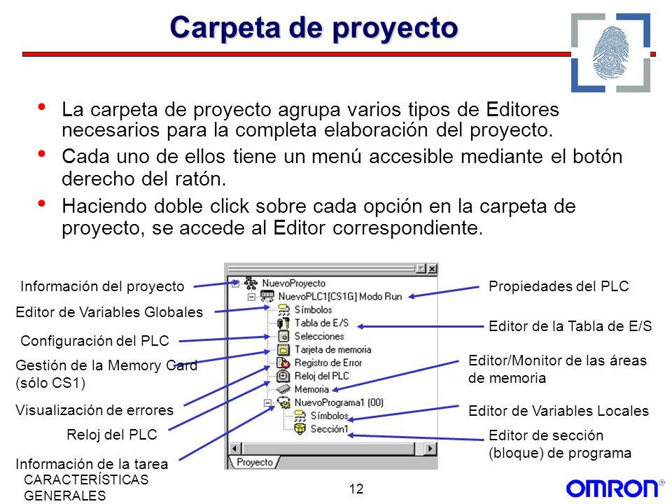 Carpeta de proyecto La carpeta de proyecto agrupa varios tipos de Editores necesarios para la completa elaboración del proyecto.
