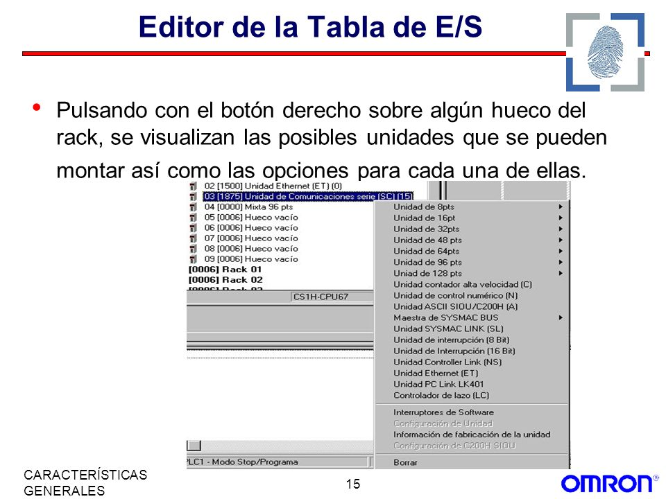 Editor de la Tabla de E/S