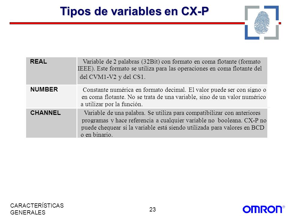 Tipos de variables en CX-P