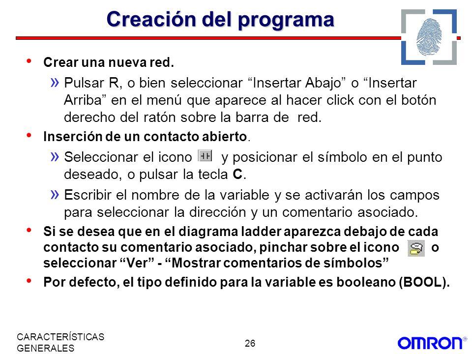 Creación del programaCrear una nueva red.