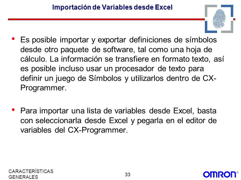 Importación de Variables desde Excel