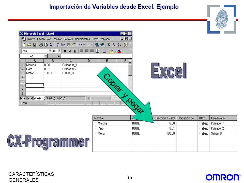 Importación de Variables desde Excel. Ejemplo