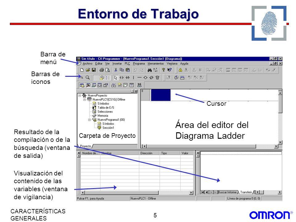 Entorno de Trabajo Área del editor del Diagrama Ladder Barra de menú