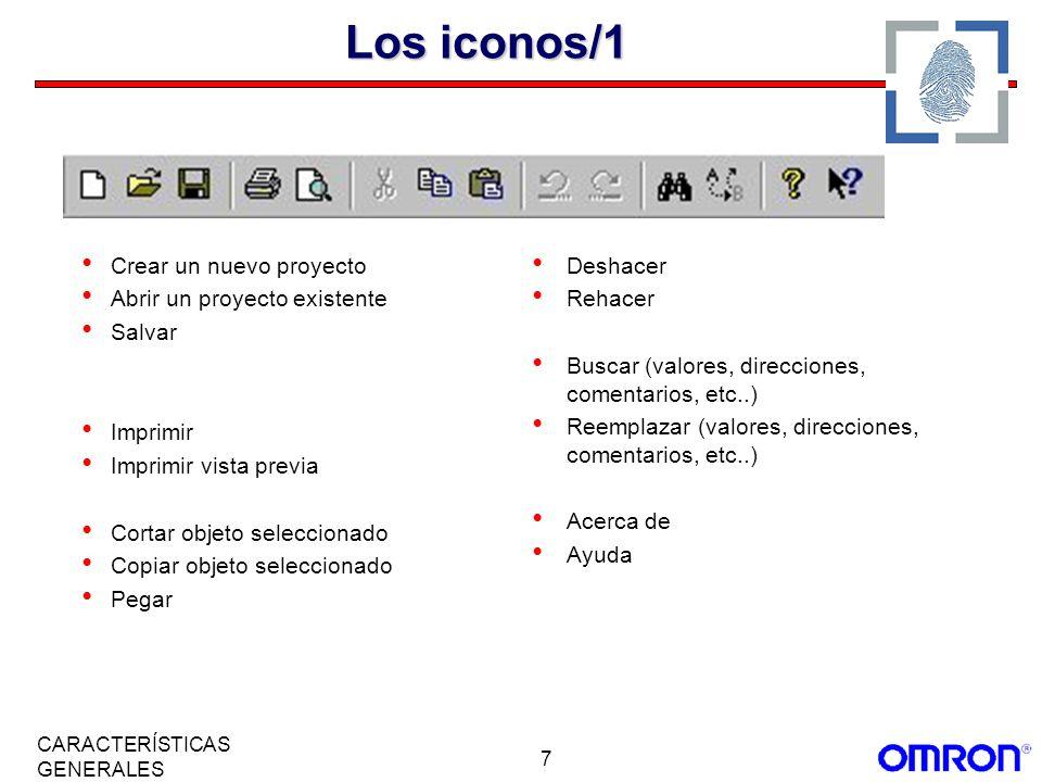 Los iconos/1 Crear un nuevo proyecto Abrir un proyecto existente