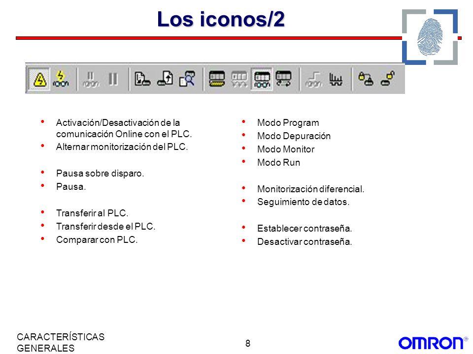 Los iconos/2 Activación/Desactivación de la comunicación Online con el PLC. Alternar monitorización del PLC.