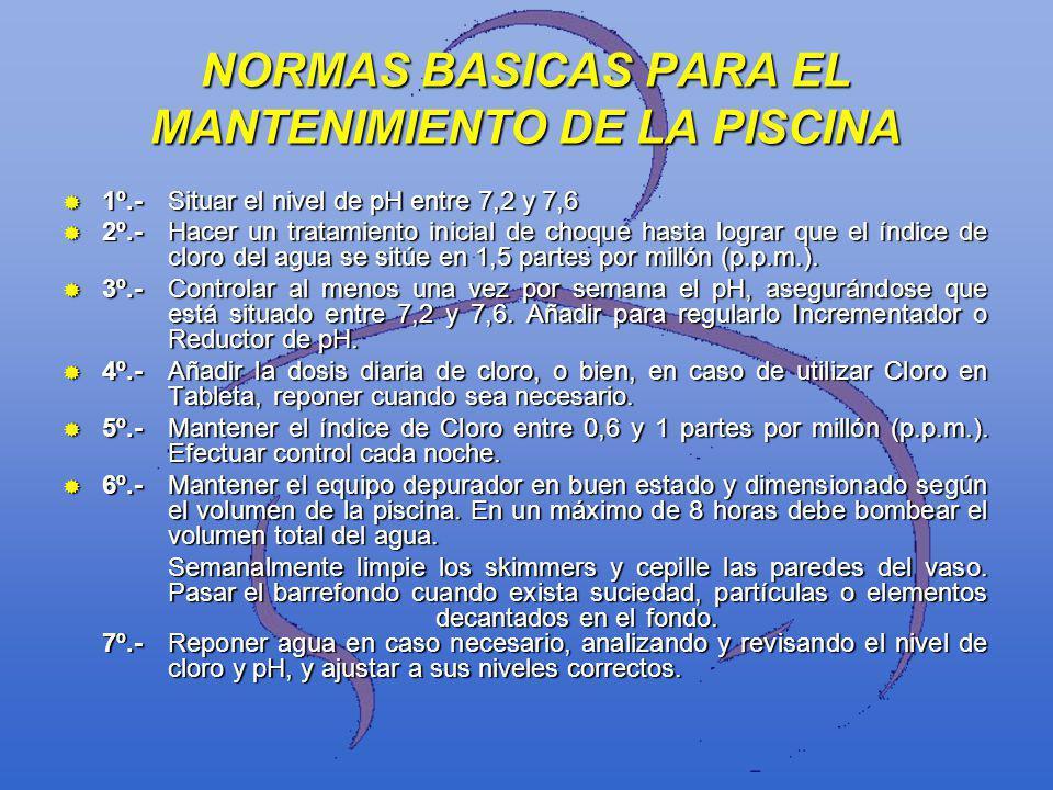 NORMAS BASICAS PARA EL MANTENIMIENTO DE LA PISCINA