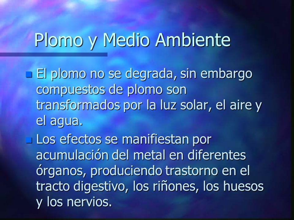 Plomo y Medio Ambiente El plomo no se degrada, sin embargo compuestos de plomo son transformados por la luz solar, el aire y el agua.