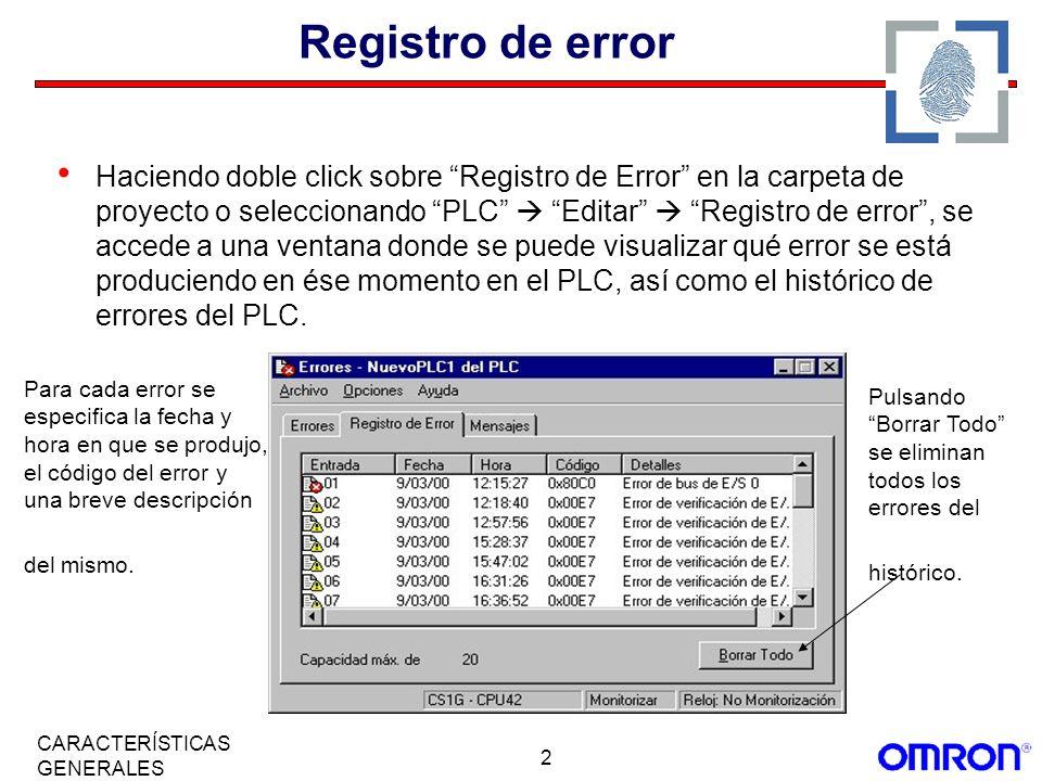 Registro de error