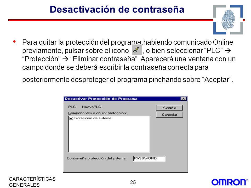 Desactivación de contraseña