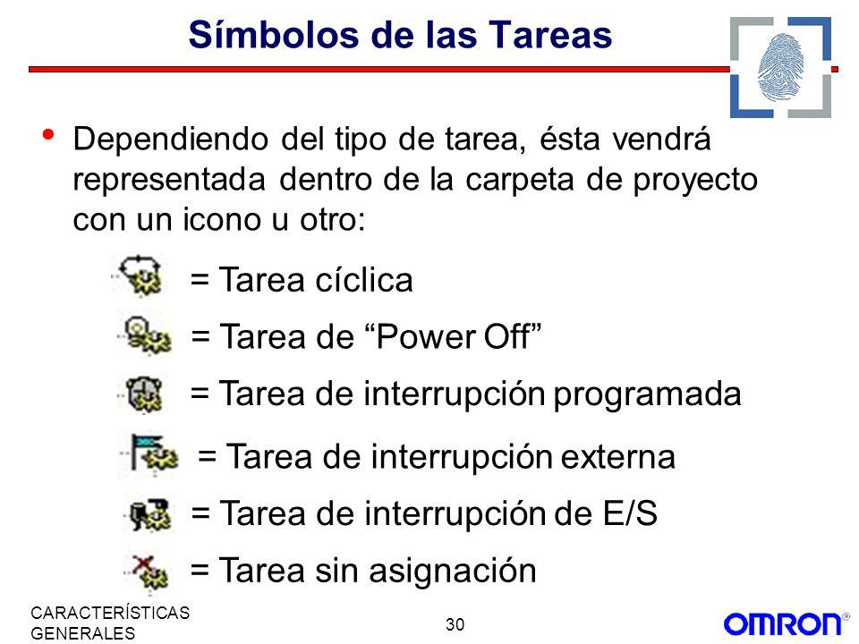 Símbolos de las Tareas = Tarea cíclica = Tarea de Power Off