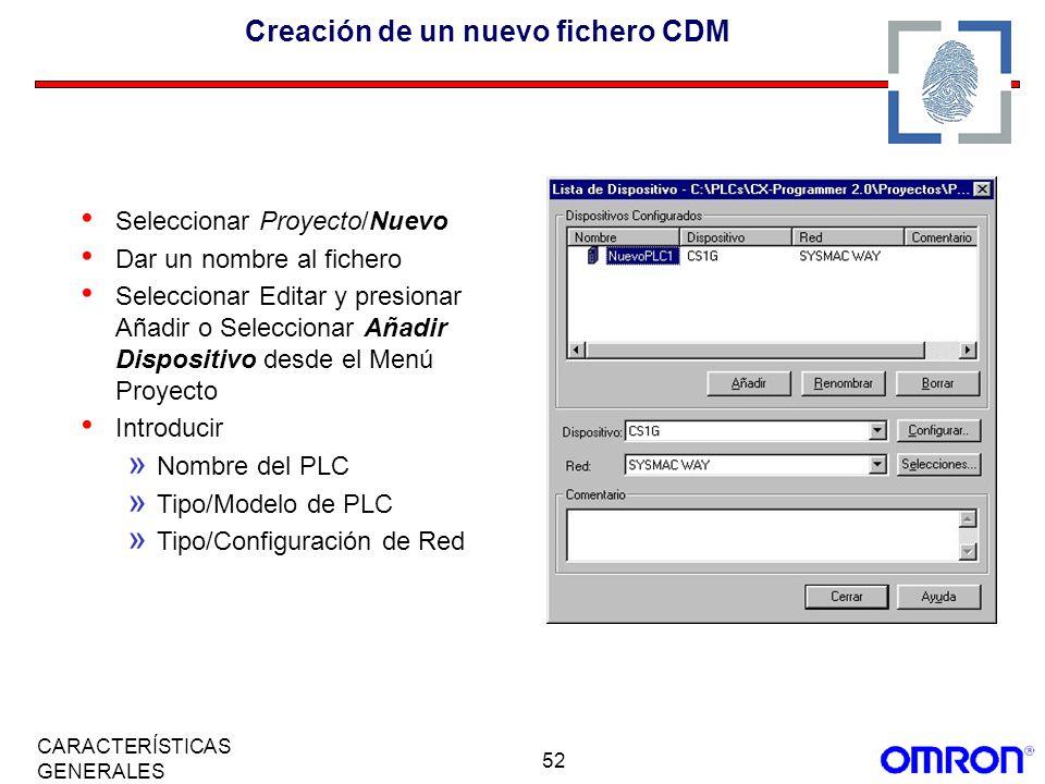 Creación de un nuevo fichero CDM