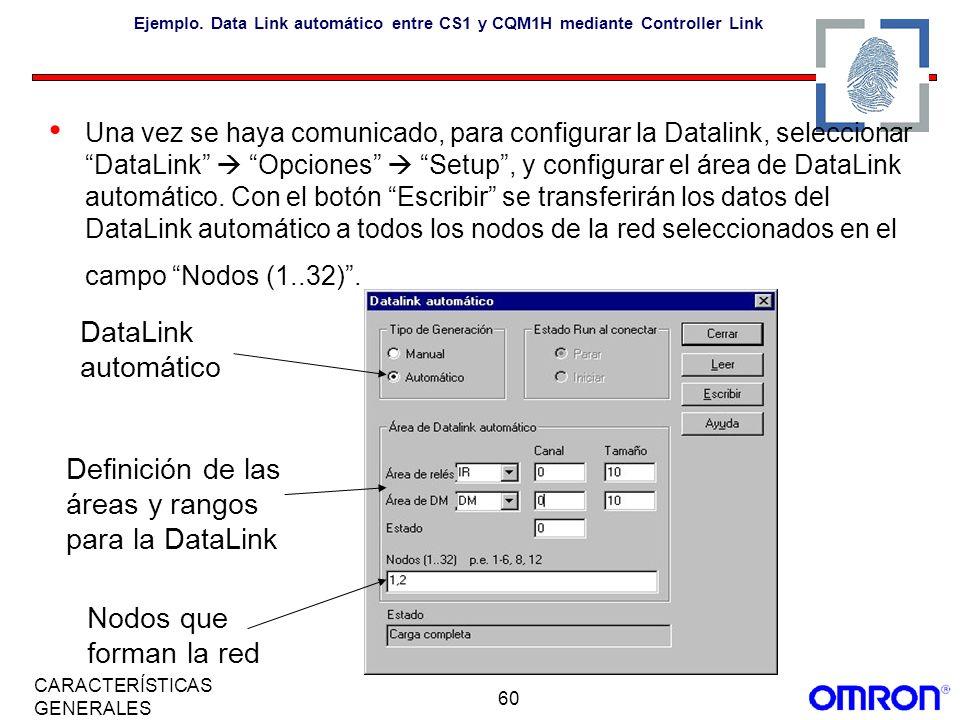 Definición de las áreas y rangos para la DataLink