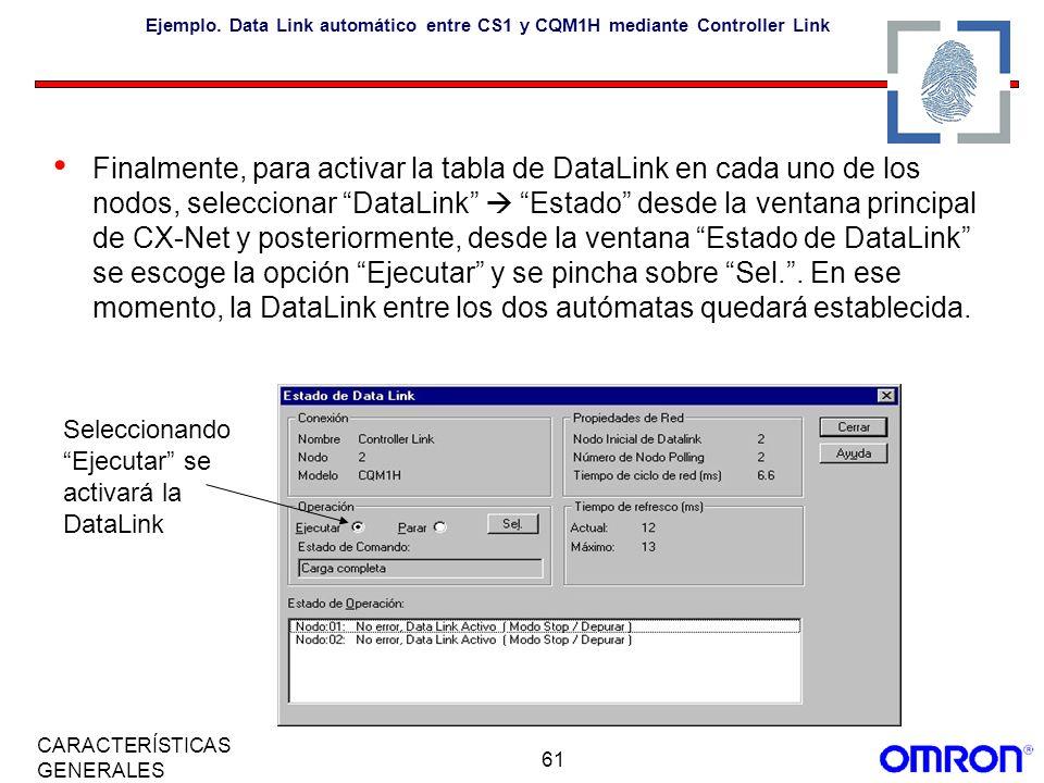 Ejemplo. Data Link automático entre CS1 y CQM1H mediante Controller Link
