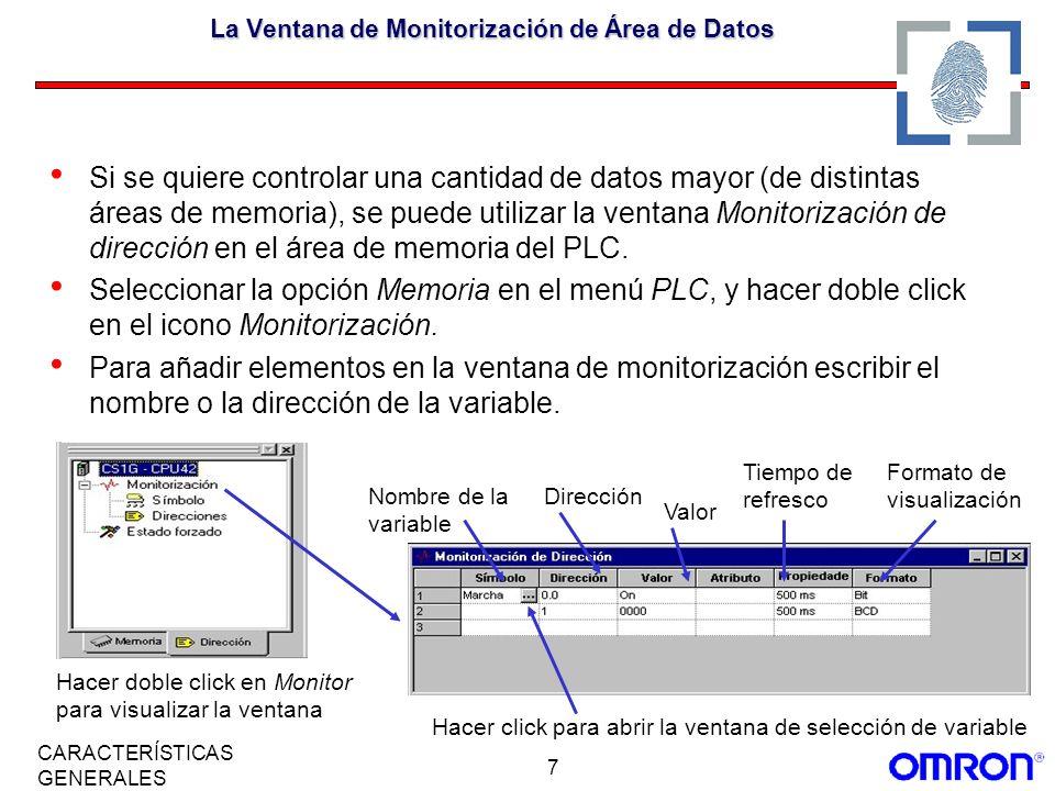 La Ventana de Monitorización de Área de Datos