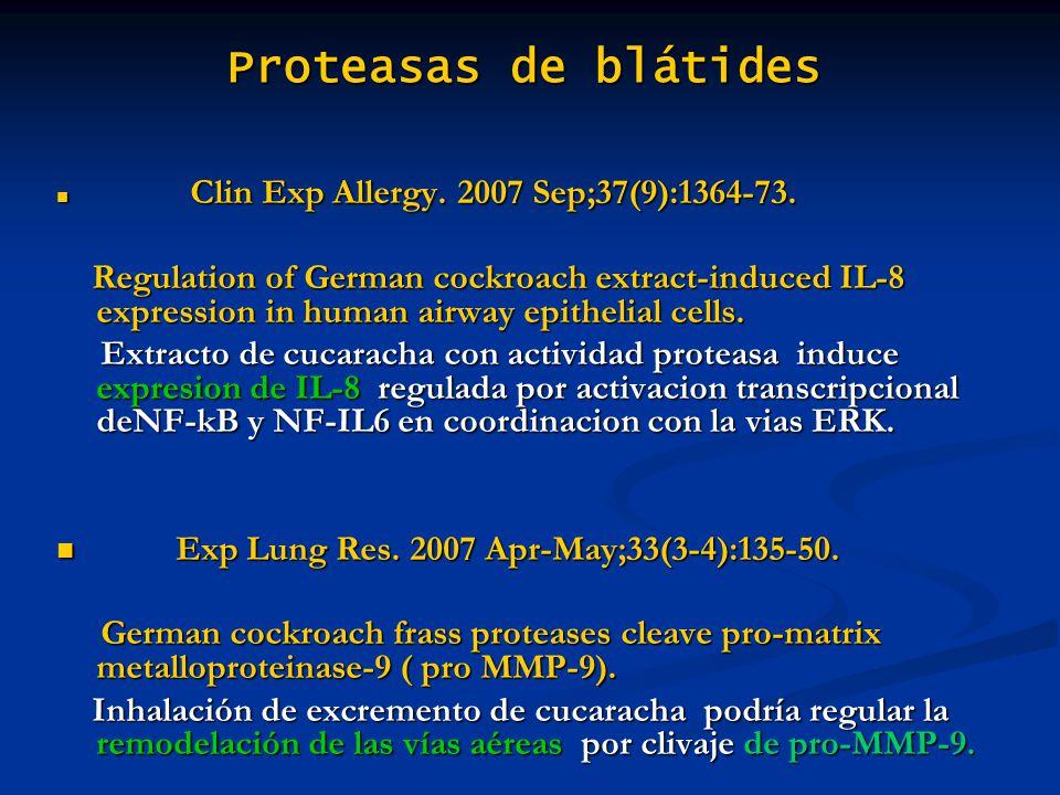 Proteasas de blátides Clin Exp Allergy. 2007 Sep;37(9):1364-73.